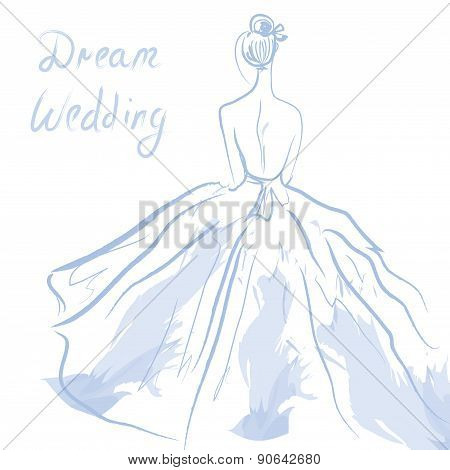 Wedding Invitation Or Card With Girl And Dress