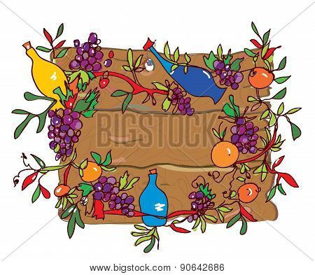 Wooden Frame With Grape And Wine