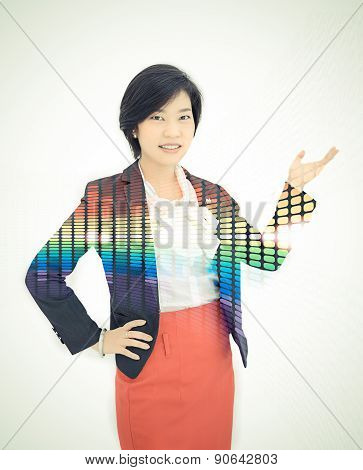 Pretty Asian Reporter Is Posing A Presentation Gesture In White Background With Colorful Abstract Li
