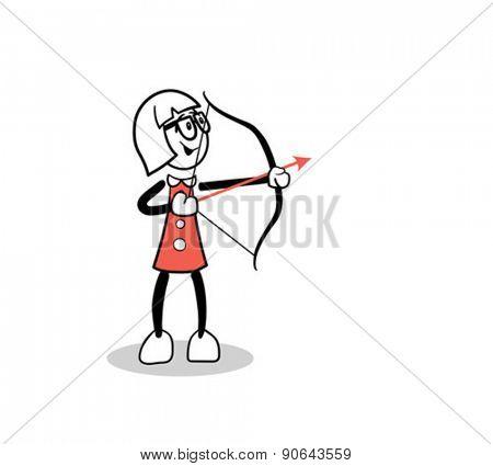 Digitally generated Cute cartoon shooting an arrow
