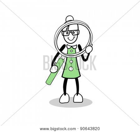 Digitally generated Cute cartoon holding a magnifying glass