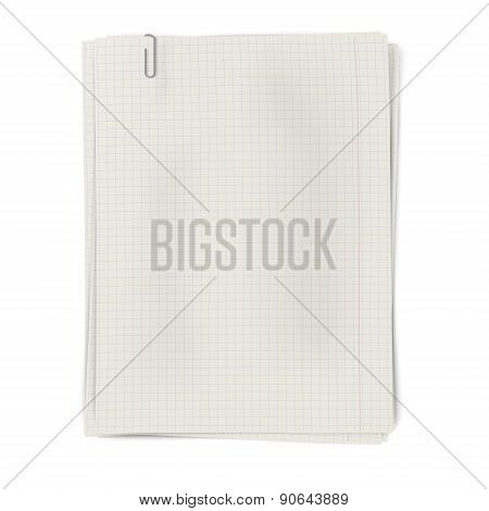 Clipped Pile Of Squared Sheets Of Paper Isolated On White Background
