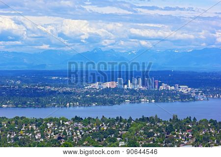 Scenic panorama of suburban Seattle with mountains range