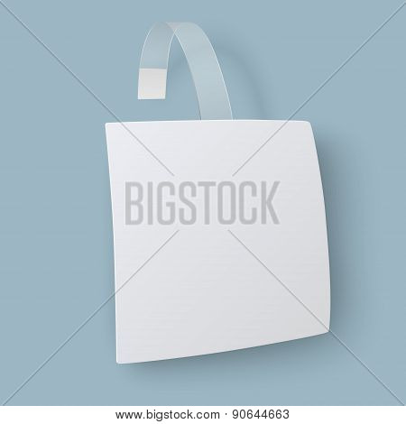 Close Up View Of White Square Paper Advertising Wobbler Isolated