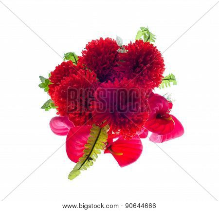 Red Artificial Flowers  On White Background