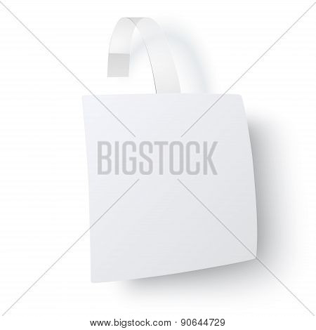 Close Up And From One Side View Of White Square Paper Advertising Wobbler With Transparent Trip Isol