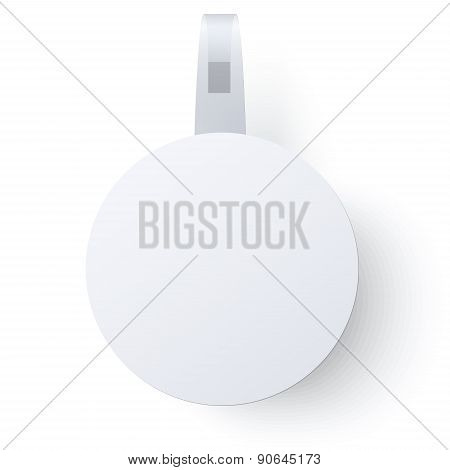 Round Paper Wobbler With Transparent Strip Isolated On A White Background