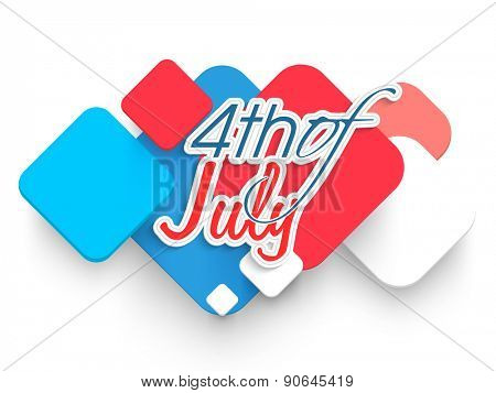 Stylish text 4th of July on creative abstract design for American Independence Day celebration.