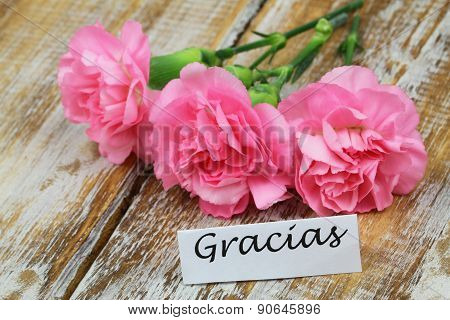 Gracias (which means thank you in Spanish) card with three pink carnations on rustic wood