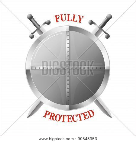 Metal Shield With Two Crossed Swords Isolated On White. Symbol Of Full Protection.