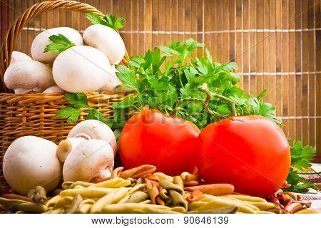 Wicker Basket Full Of Fresh Champignon Mushrooms