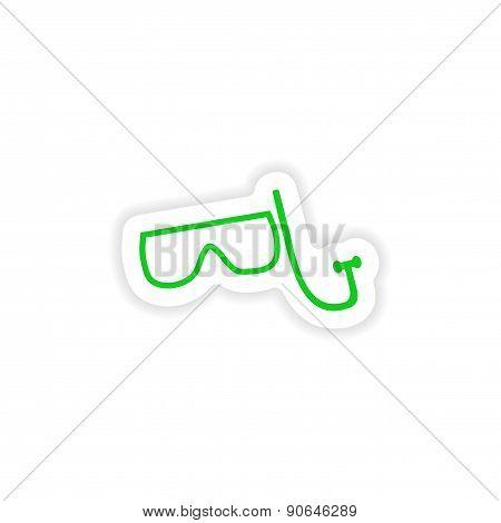 icon sticker realistic design on paper aqualung