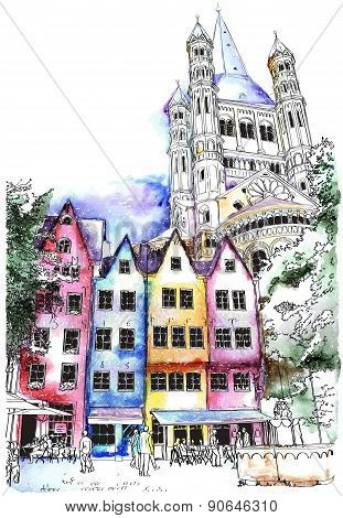 Historical houses in Cologne, Germany. vector illustration