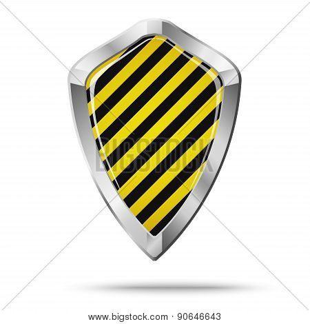 Shield Security Concept Isolated. Black And Yellow Hatch.