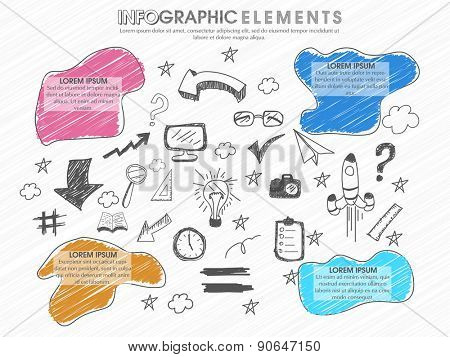 Set of different infographics elements on white background for business reports and presentation.