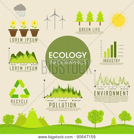 Big set of ecology infographics with various elements.