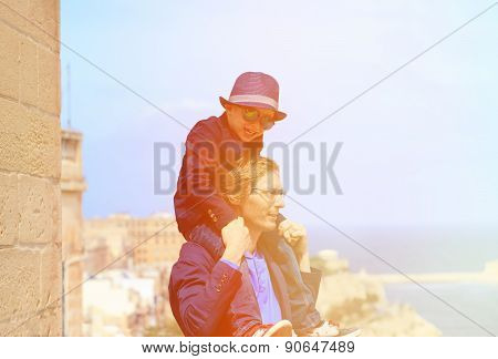 father and son travel in Malta, Europe