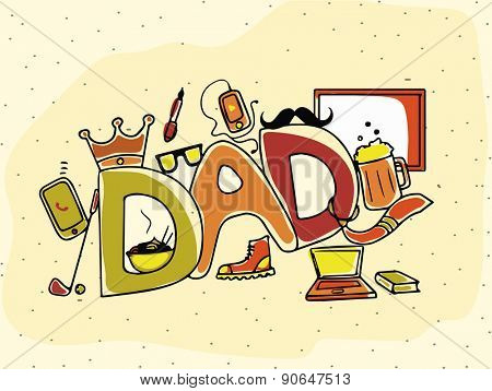 Happy Father's Day celebration with stylish text Dad and various elements on yellow background.