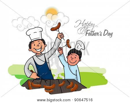 Happy dad with his cute son, cooking food on occasion of Happy Father's Day celebration.
