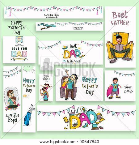 Social media ads, header or banner set with different elements for Happy Father's Day celebration.
