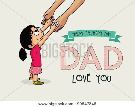 Happy Father's Day celebration with illustration of a man's hand holding his daughter's hand on grey background.