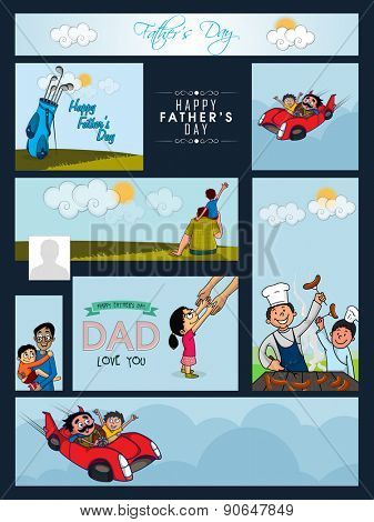 Social media ads, post and header set decorated with man and his child for Happy Father's Day celebration.