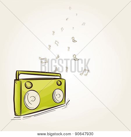 Vintage green radio on musical notes decorated shiny background for music concept.