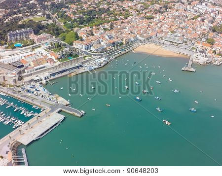 Aerial View Of Cascais Coastline Near Lisbon In Portugal