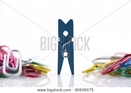 Color Clothes-peg Isolated On White Background