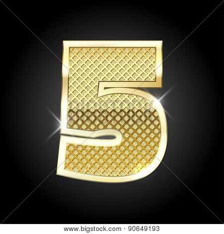 Vector metal gold letter of number five (5)