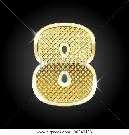Vector metal gold letter of number eight (8)
