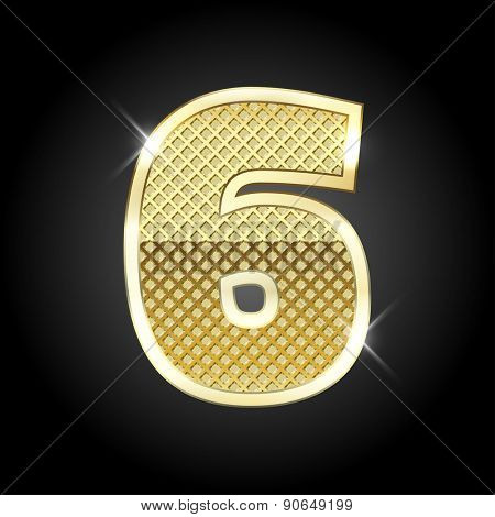 Vector metal gold letter of number six (6)