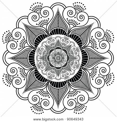 Indian Henna Tatto Flower Pattern