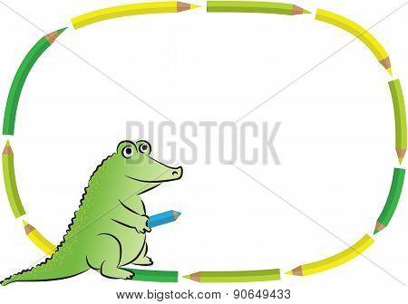 crocodile with blank border