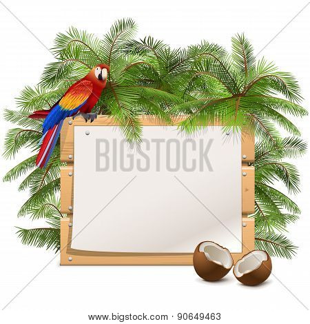 Vector Wooden Frame With Palm Tree