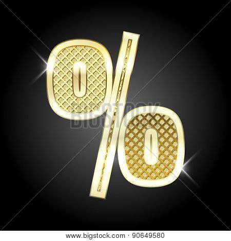 Vector metal gold letter Percent sign (%)
