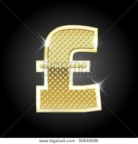 Vector metal gold letter Pound sign