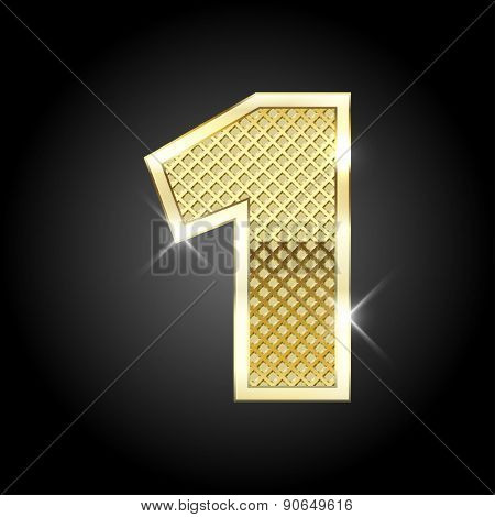 Vector metal gold letter of number one (1)