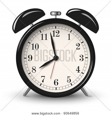 Black Retro Alarm Clock Isolated On White Background