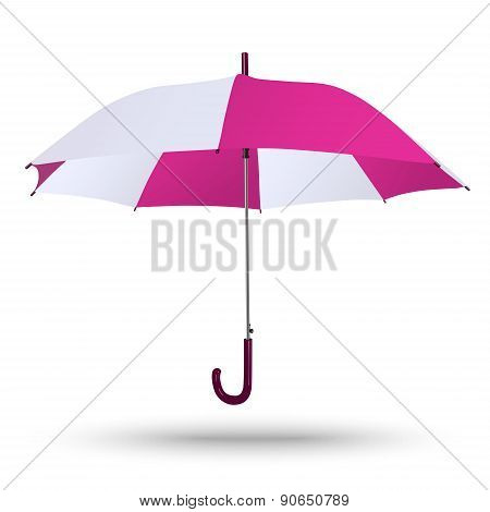 Classic Opened Bright Red-white Umbrella Isolated