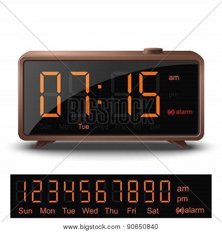 Retro Digital Alarm Clock With Orange Numbers