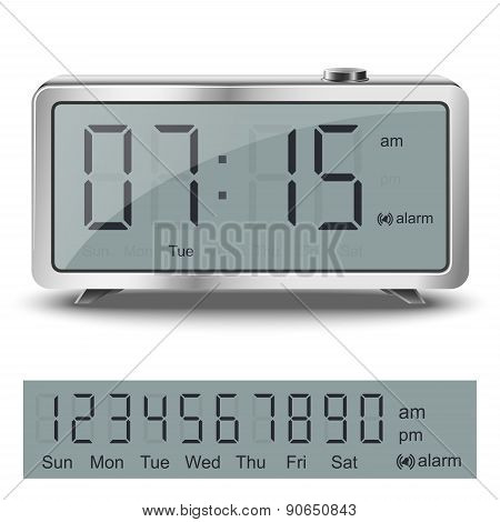 Old Style Liquid-crystal Alarm Clock With Black Numbers And Glare Metallic Body Isolated