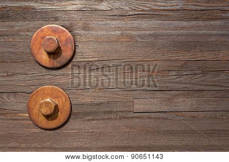 Two big hexagon bolts with washers