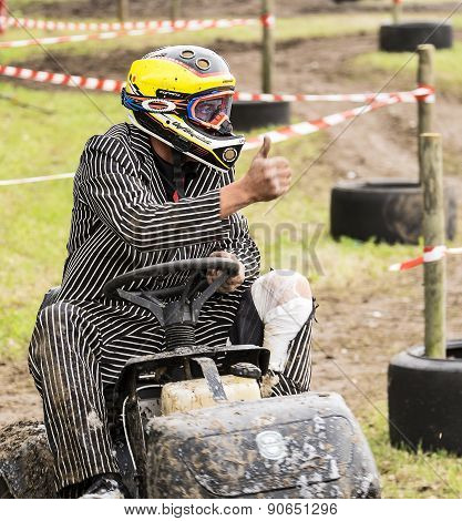 Lawn Mower Driver In Race