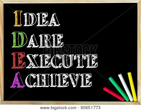 Acronym Idea As Idea, Dare, Execute, Achieve
