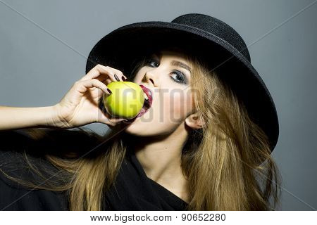 Beautiful Young Blonde With Apple