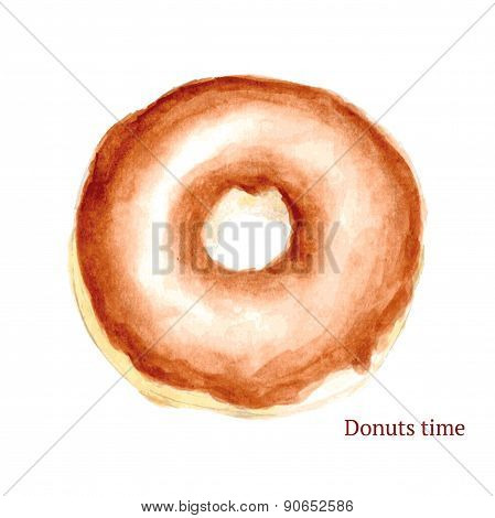 Watercolor Tasty Donut In Vintage Style