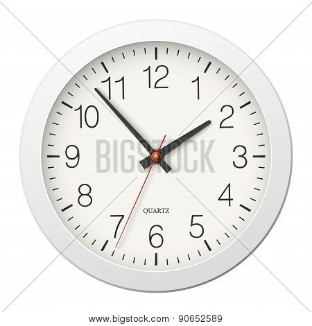 Classic Round Wall Clock With White Body