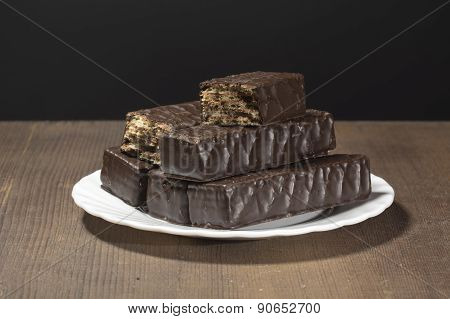 Chocolate Wafers On A Black Background