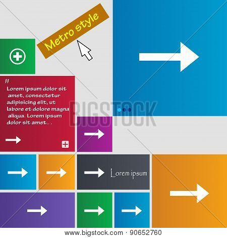 Arrow Right, Next Icon Sign. Metro Style Buttons. Modern Interface Website Buttons With Cursor Point